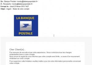 Arnaque Phishing - Banque Postale