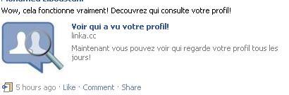 Spam Facebook - qui a visité mon profil