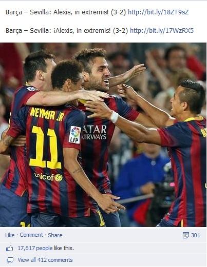 Page Facebook FC Barcelone - Nombre de likes