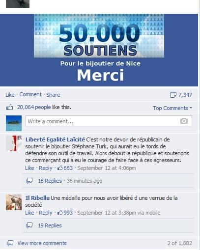 Page Facebook Soutien au bijoutier de Nice - Nombre de likes
