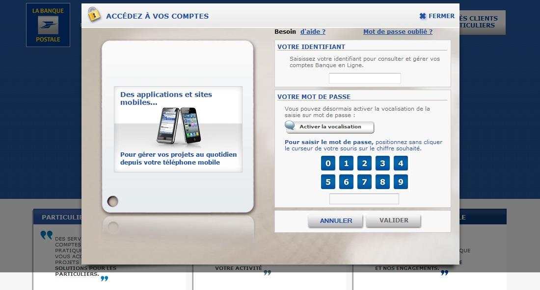 Site Phishing Arnaque Banque Postale en France